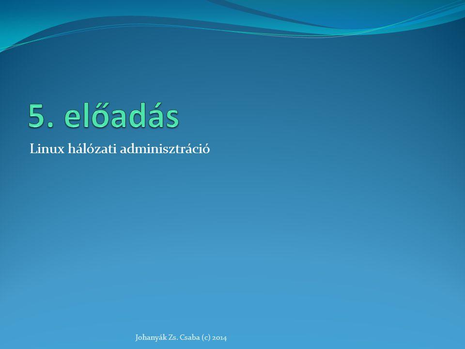 Linux hálózati adminisztráció Johanyák Zs. Csaba (c) 2014