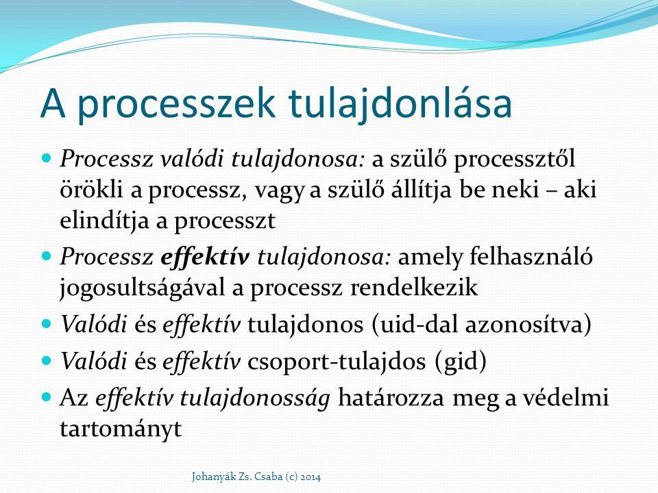 A hozzáférés szabályozás érvényesülése a folyamat effektív tulajdonosság és a fájl tulajdonosság összevetődik ha egyezik, a fájl i-csomópontjába írt, a tulajdonoshoz tartozó rwx hozzáférések szabják meg a hozzáférést vagy elutasítást ha nem egyezik: a csoport-tulajdonosságok vetődnek össze egyezés esetén a hozzáférést a csoporthoz rendelt rwx minta szabja meg ha nem egyezik: az i-csomópont others rwx-e szabályoz (Bárki számára hozzáférhető fájlom nem biztos, hogy elérhető általam!) Johanyák Zs.