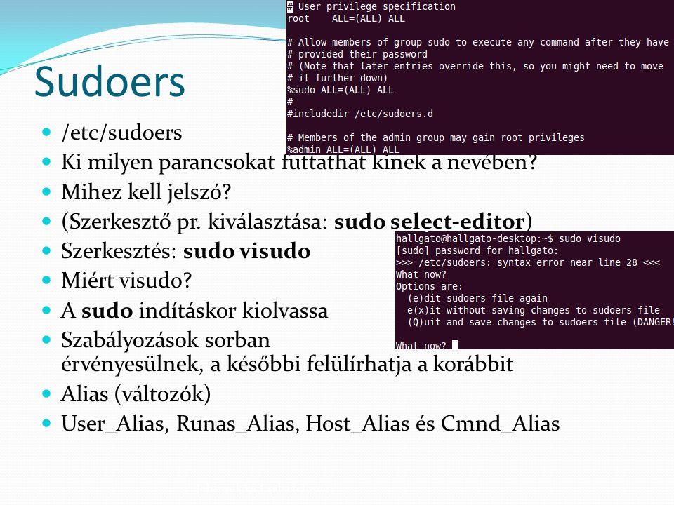 Sudoers /etc/sudoers Ki milyen parancsokat futtathat kinek a nevében? Mihez kell jelszó? (Szerkesztő pr. kiválasztása: sudo select-editor) Szerkesztés