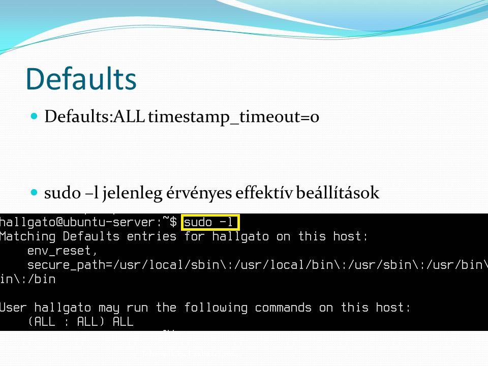 Defaults Defaults:ALL timestamp_timeout=0 sudo –l jelenleg érvényes effektív beállítások Johanyák Zs. Csaba (c) 2014