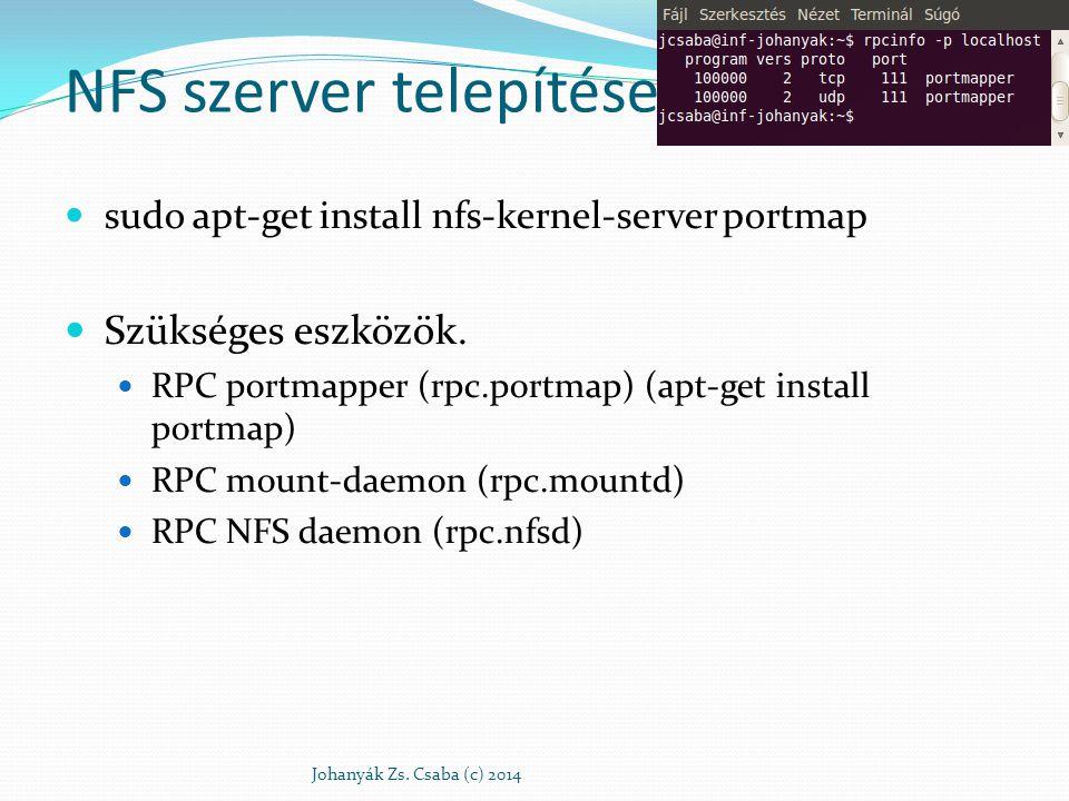 NFS szerver Exportált könyvtárak: /etc/exports Minden könyvtár új sorban, mely gépek (teljes név, * és .