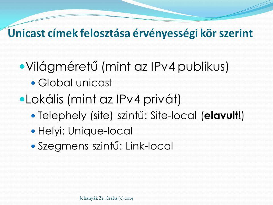 Unicast címek felosztása érvényességi kör szerint Világméretű (mint az IPv4 publikus) Global unicast Lokális (mint az IPv4 privát) Telephely (site) sz