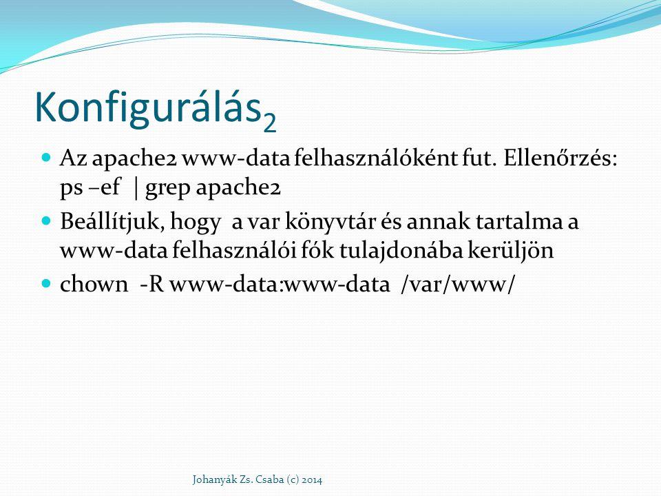 Konfigurálás 2 Az apache2 www-data felhasználóként fut. Ellenőrzés: ps –ef | grep apache2 Beállítjuk, hogy a var könyvtár és annak tartalma a www-data