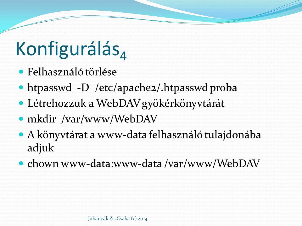 Konfigurálás 5 Beállítjuk a rwx r-x --- hozzáférésszabályozást chmod 750 /var/www/WebDAV Az Apache 2 konfigurációs állományában: Az általános részben (Global Environment) – a zárolási adatbázis helye DavLockDB /usr/share/apache2/var/DAVLock DavMinTimeout 600.