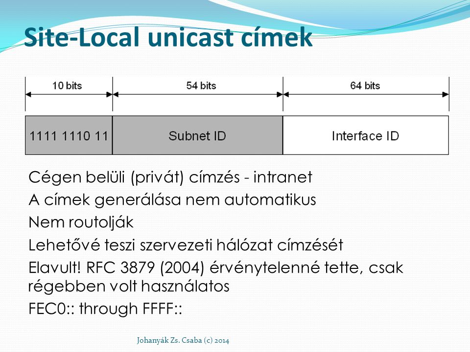 Site-Local unicast címek Cégen belüli (privát) címzés - intranet A címek generálása nem automatikus Nem routolják Lehetővé teszi szervezeti hálózat cí