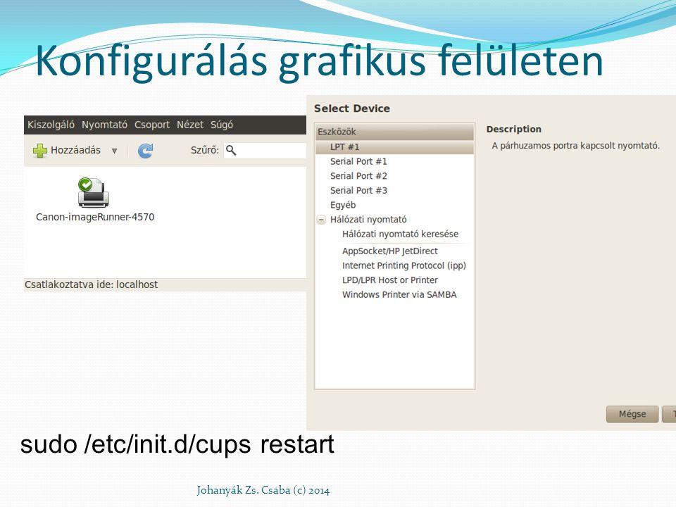 Konfigurálás grafikus felületen Johanyák Zs. Csaba (c) 2014 sudo /etc/init.d/cups restart