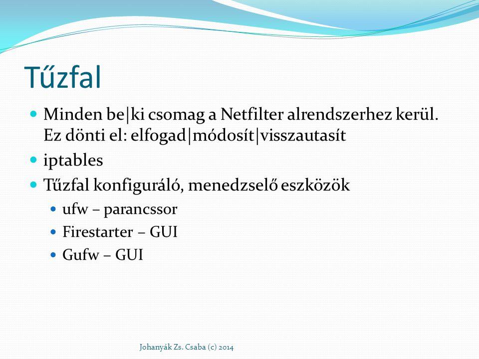 Tűzfal Minden be|ki csomag a Netfilter alrendszerhez kerül. Ez dönti el: elfogad|módosít|visszautasít iptables Tűzfal konfiguráló, menedzselő eszközök
