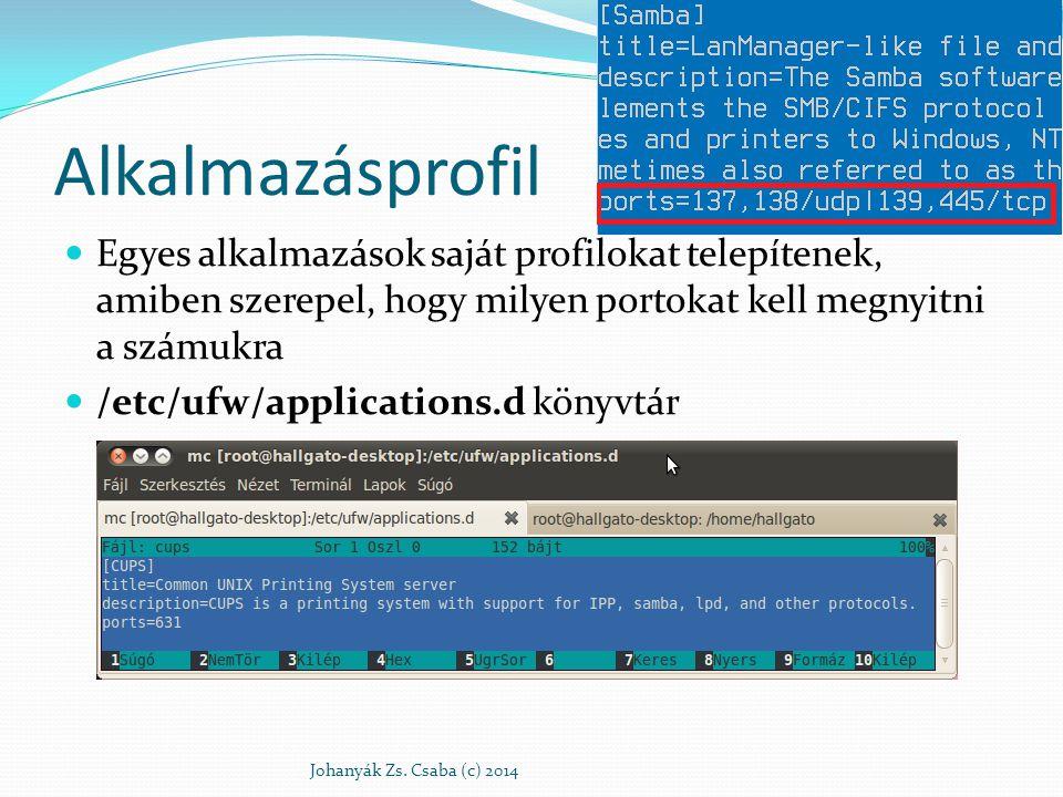 Alkalmazásprofil Egyes alkalmazások saját profilokat telepítenek, amiben szerepel, hogy milyen portokat kell megnyitni a számukra /etc/ufw/application