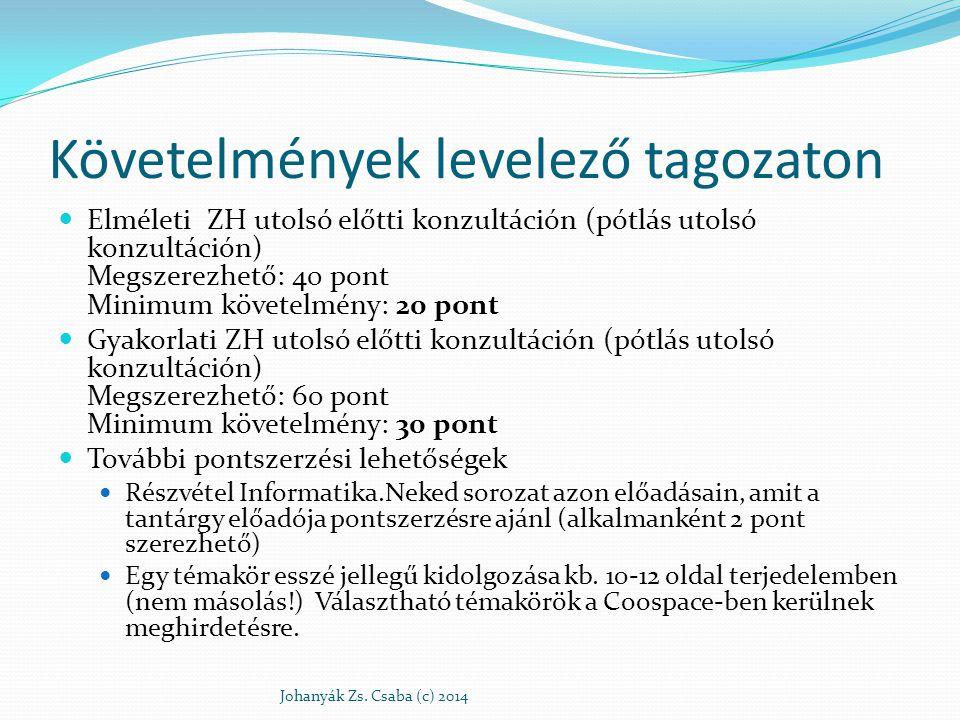 Előadók Göcs László E-mail: gocs.laszlo@gamf.kefo.hu Személyes konzultáció: 4.