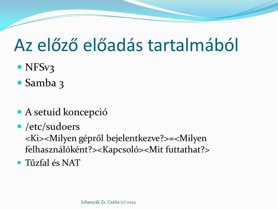 Az előző előadás tartalmából NFSv3 Samba 3 A setuid koncepció /etc/sudoers = Tűzfal és NAT Johanyák Zs. Csaba (c) 2014
