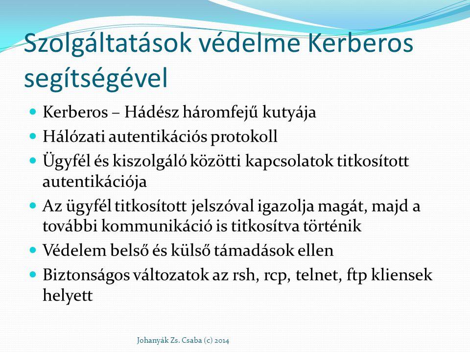 Szolgáltatások védelme Kerberos segítségével Kerberos – Hádész háromfejű kutyája Hálózati autentikációs protokoll Ügyfél és kiszolgáló közötti kapcsol
