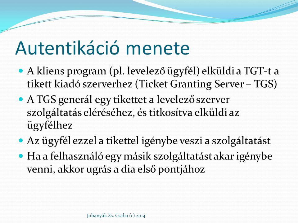 Autentikáció menete A kliens program (pl. levelező ügyfél) elküldi a TGT-t a tikett kiadó szerverhez (Ticket Granting Server – TGS) A TGS generál egy