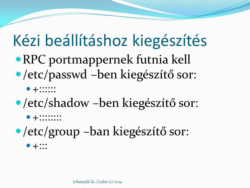 Néhány parancs yppasswd – NIS jelszócsere ypchfn – GECOS infók cseréje ypchsh – shell csere ypwhich – szerver nevének lekérdezése ypdomainname – NIS tartománynév lekérdezés és csere hostname Johanyák Zs.