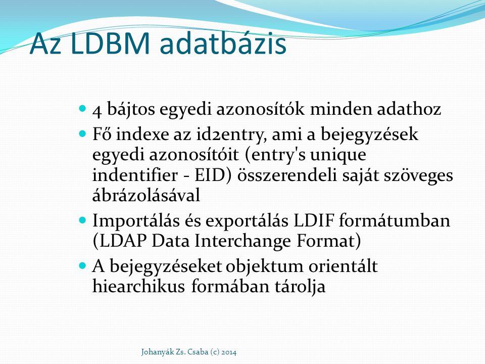 Internet tartomány név alapú fastruktúra DIT: directory information tree Hivatkozás a bejegyzésre:RFC4514,RFC4514 DN: distinguished name: uid=babs,ou=People,dc= example,dc=com RDN: Relative Distinguished Name uid=babs Johanyák Zs.