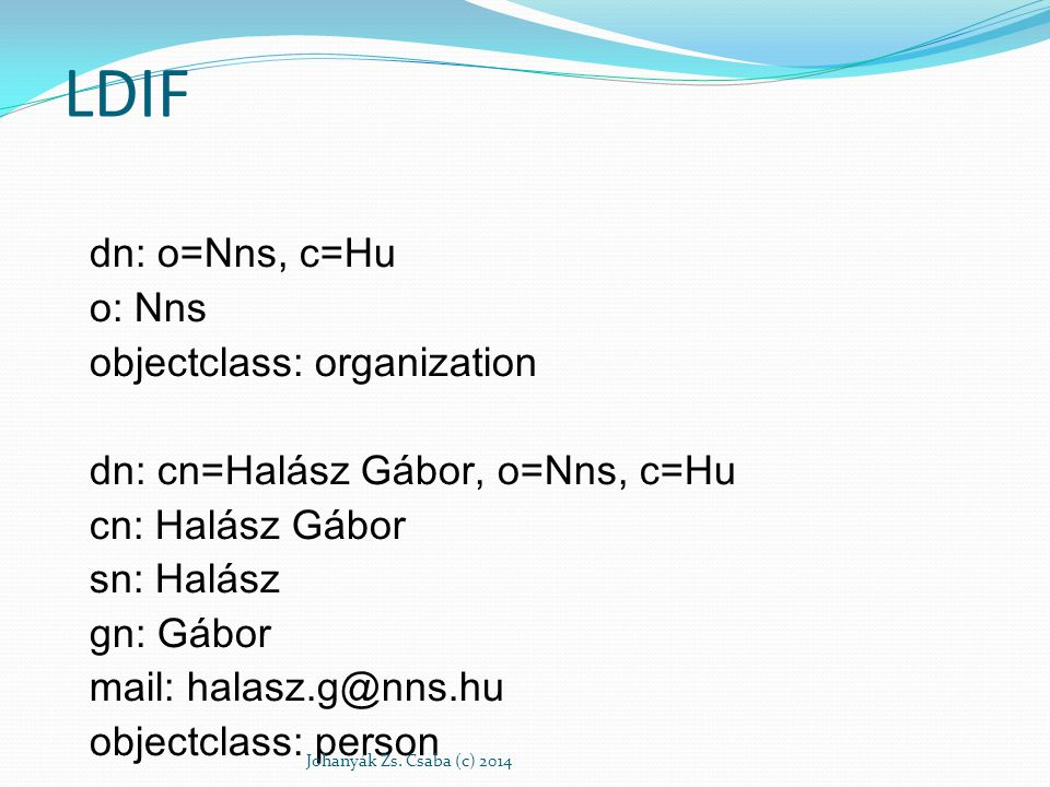 Felépítés dn - distinguished name (megkülönböztő név) - a bejegyzés nevéből áll, megtoldva a név elérési útjával vissza a címtár hiearchia csúcsáig alapvető objektum osztályok: Group (csoport), független objektumok rendezetlen listája vagy objektumok csoportja Location (elhelyezkedés), az országok nevei és leírásuk Organization (szervezet) People (személy) Johanyák Zs.