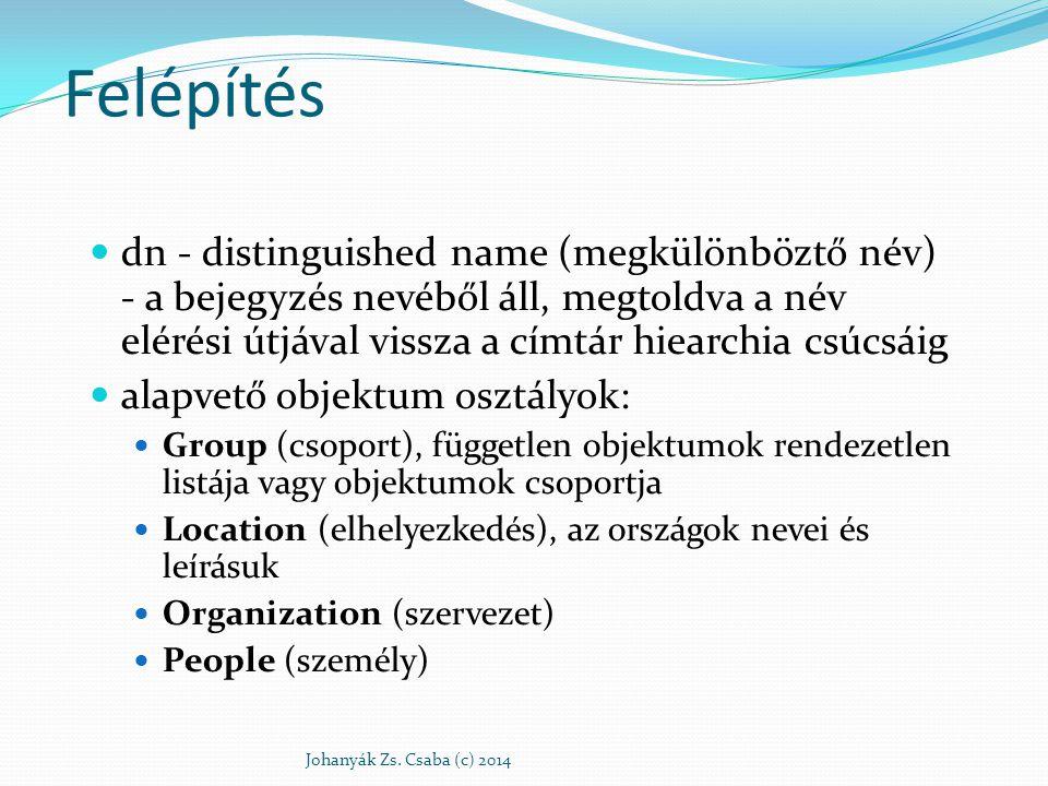 Felépítés dn - distinguished name (megkülönböztő név) - a bejegyzés nevéből áll, megtoldva a név elérési útjával vissza a címtár hiearchia csúcsáig al