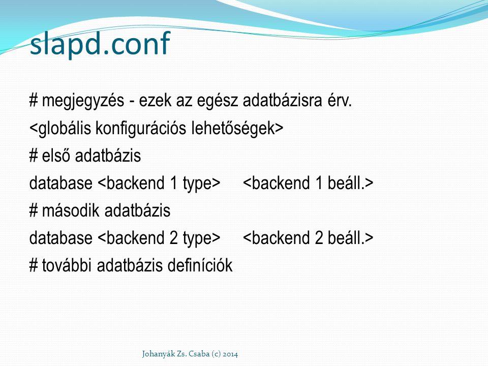 slapd.conf # megjegyzés - ezek az egész adatbázisra érv. # első adatbázis database # második adatbázis database # további adatbázis definíciók Johanyá
