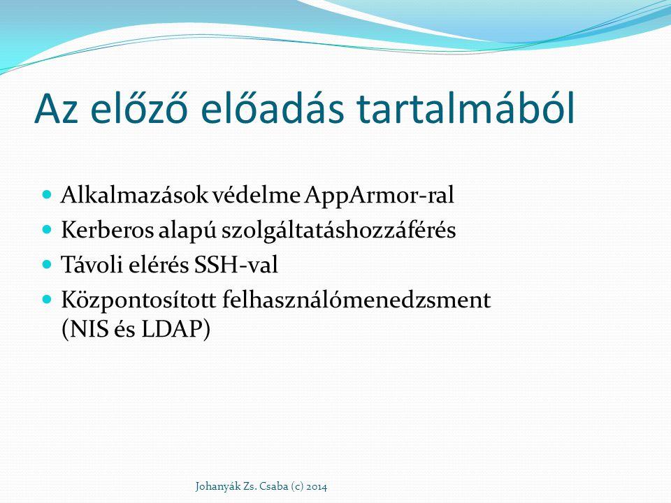 Az előző előadás tartalmából Alkalmazások védelme AppArmor-ral Kerberos alapú szolgáltatáshozzáférés Távoli elérés SSH-val Központosított felhasználóm