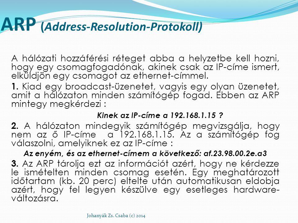 ARP (Address-Resolution-Protokoll) A hálózati hozzáférési réteget abba a helyzetbe kell hozni, hogy egy csomagfogadónak, akinek csak az IP-címe ismert