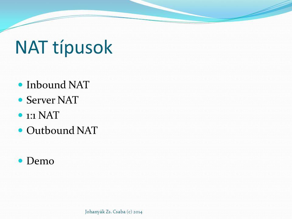 NAT típusok Inbound NAT Server NAT 1:1 NAT Outbound NAT Demo Johanyák Zs. Csaba (c) 2014