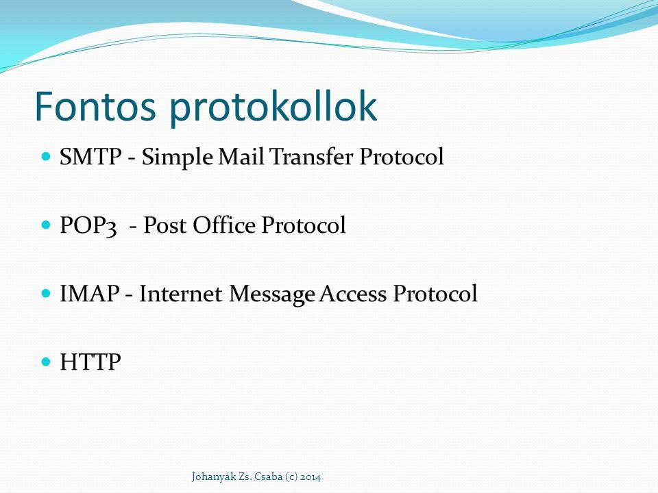 Fontos protokollok SMTP - Simple Mail Transfer Protocol POP3 - Post Office Protocol IMAP - Internet Message Access Protocol HTTP Johanyák Zs. Csaba (c