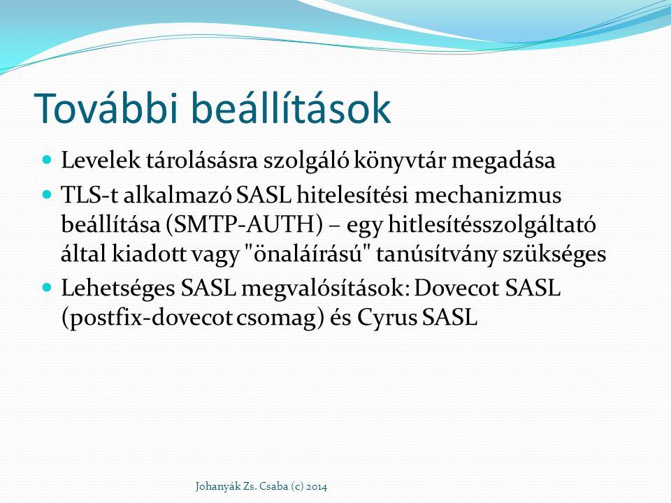 További beállítások Levelek tárolásásra szolgáló könyvtár megadása TLS-t alkalmazó SASL hitelesítési mechanizmus beállítása (SMTP-AUTH) – egy hitlesít