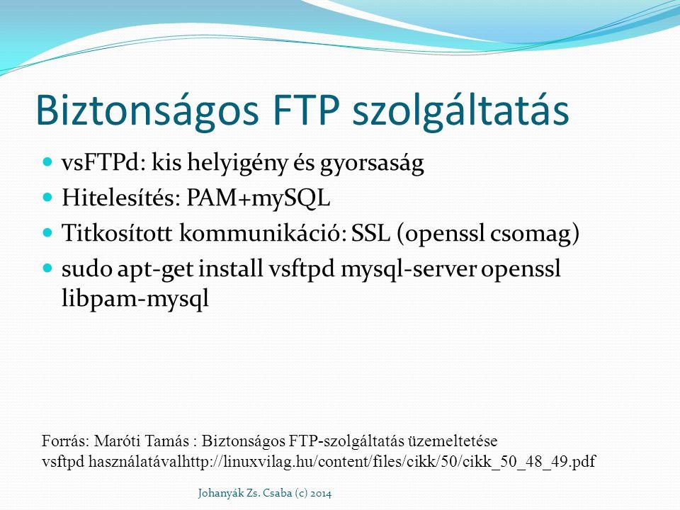 Biztonságos FTP szolgáltatás vsFTPd: kis helyigény és gyorsaság Hitelesítés: PAM+mySQL Titkosított kommunikáció: SSL (openssl csomag) sudo apt-get ins