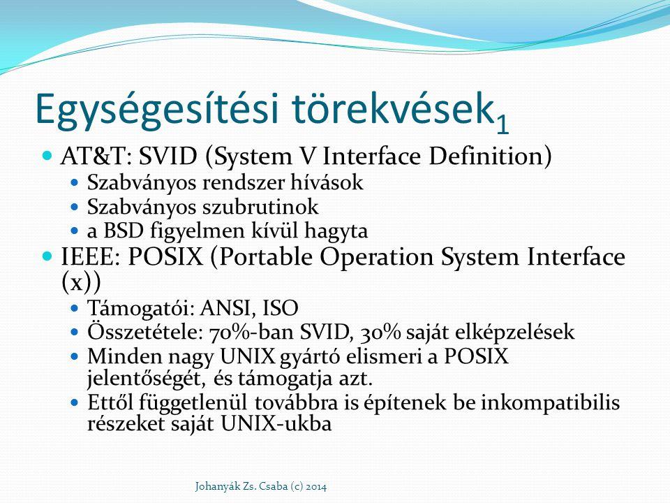 Egységesítési törekvések 1 AT&T: SVID (System V Interface Definition) Szabványos rendszer hívások Szabványos szubrutinok a BSD figyelmen kívül hagyta