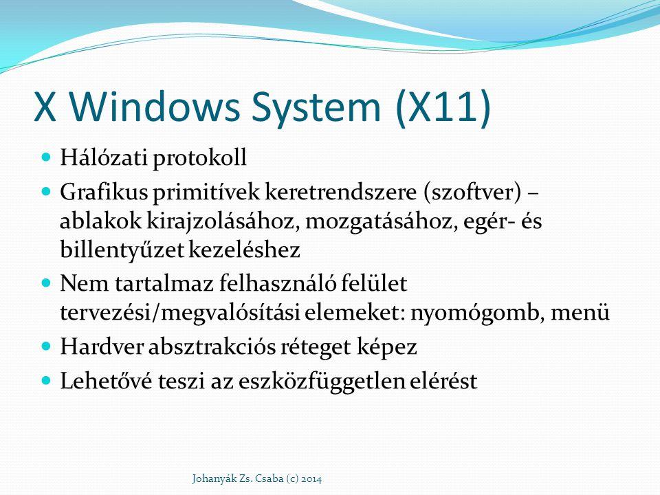 X Windows System (X11) Újabb szoftver réteg az operációs rendszer magja felett Eredetileg hálózati használatra tervezték A felhasználó gépén fut, és szolgáltatást nyújt más gépen vagy azonos gépen futtatott ún.
