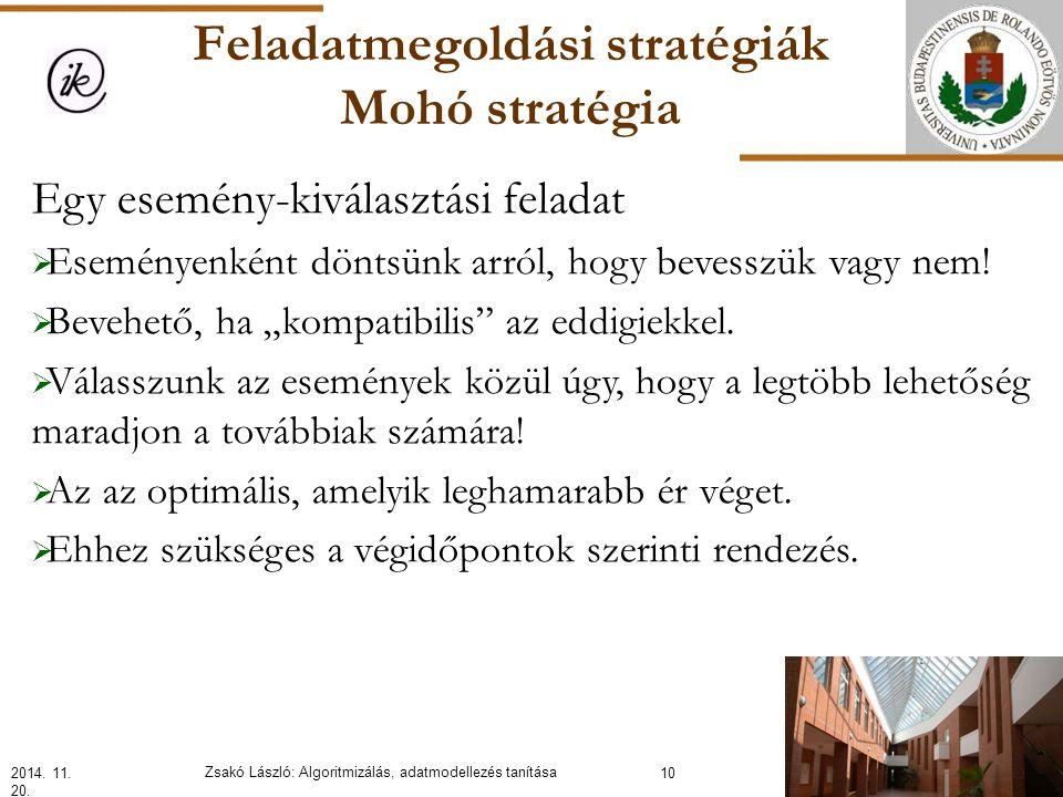Feladatmegoldási stratégiák Mohó stratégia Egy esemény-kiválasztási feladat  Eseményenként döntsünk arról, hogy bevesszük vagy nem.