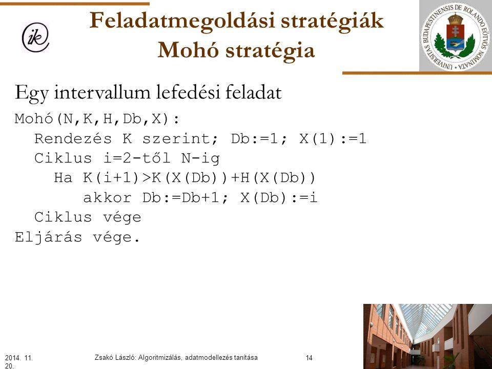 Feladatmegoldási stratégiák Mohó stratégia Egy intervallum lefedési feladat Mohó(N,K,H,Db,X): Rendezés K szerint; Db:=1; X(1):=1 Ciklus i=2-től N-ig Ha K(i+1)>K(X(Db))+H(X(Db)) akkor Db:=Db+1; X(Db):=i Ciklus vége Eljárás vége.
