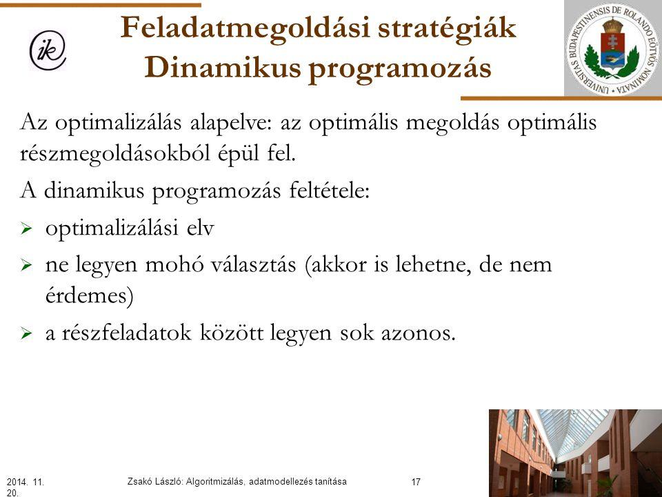 Feladatmegoldási stratégiák Dinamikus programozás Az optimalizálás alapelve: az optimális megoldás optimális részmegoldásokból épül fel.