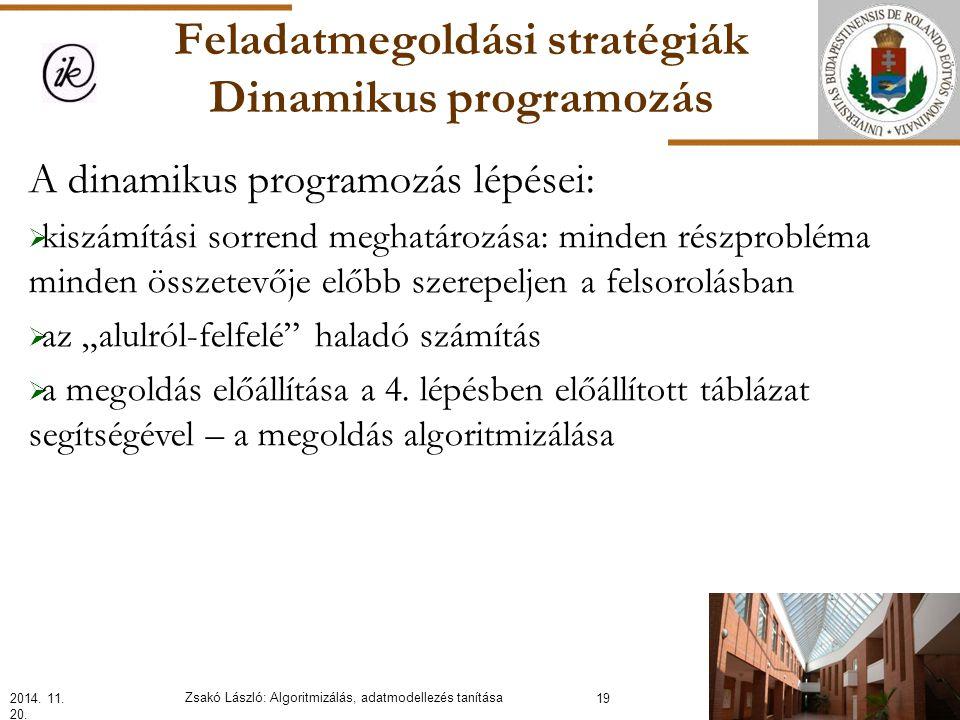 """Feladatmegoldási stratégiák Dinamikus programozás A dinamikus programozás lépései:  kiszámítási sorrend meghatározása: minden részprobléma minden összetevője előbb szerepeljen a felsorolásban  az """"alulról-felfelé haladó számítás  a megoldás előállítása a 4."""