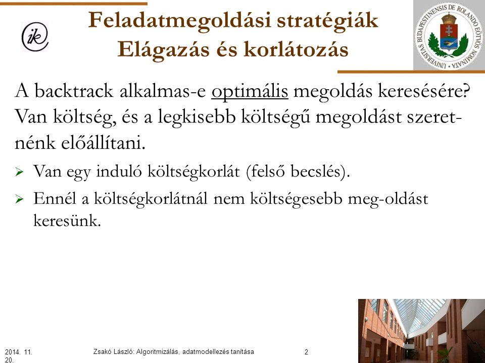 Feladatmegoldási stratégiák Elágazás és korlátozás A backtrack alkalmas-e optimális megoldás keresésére.