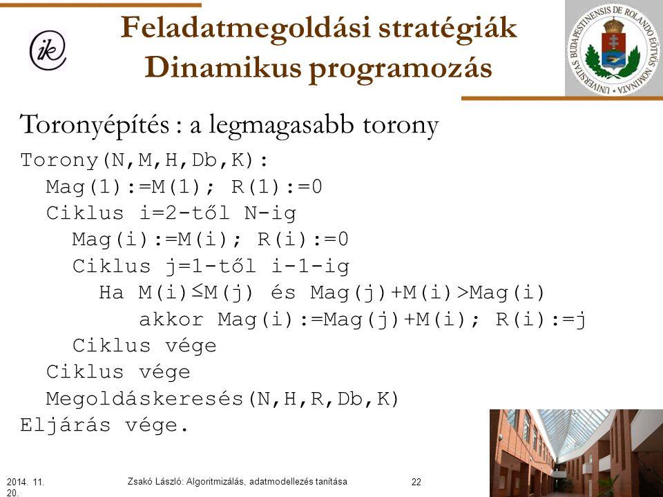 Feladatmegoldási stratégiák Dinamikus programozás Toronyépítés : a legmagasabb torony Torony(N,M,H,Db,K): Mag(1):=M(1); R(1):=0 Ciklus i=2-től N-ig Mag(i):=M(i); R(i):=0 Ciklus j=1-től i-1-ig Ha M(i)≤M(j) és Mag(j)+M(i)>Mag(i) akkor Mag(i):=Mag(j)+M(i); R(i):=j Ciklus vége Megoldáskeresés(N,H,R,Db,K) Eljárás vége.