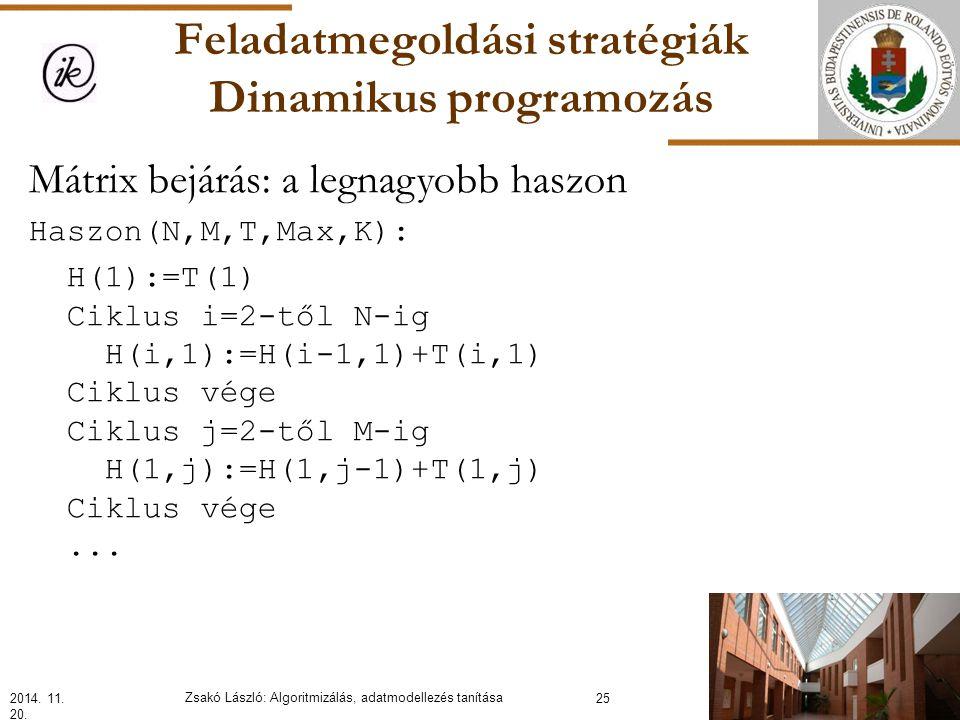 Feladatmegoldási stratégiák Dinamikus programozás Mátrix bejárás: a legnagyobb haszon Haszon(N,M,T,Max,K): H(1):=T(1) Ciklus i=2-től N-ig H(i,1):=H(i-1,1)+T(i,1) Ciklus vége Ciklus j=2-től M-ig H(1,j):=H(1,j-1)+T(1,j) Ciklus vége...