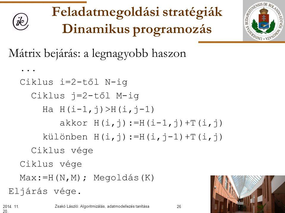 Feladatmegoldási stratégiák Dinamikus programozás Mátrix bejárás: a legnagyobb haszon...