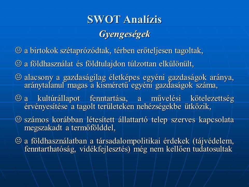 SWOT Analízis Gyengeségek  a birtokok szétaprózódtak, térben erőteljesen tagoltak,  a földhasználat és földtulajdon túlzottan elkülönült,  alacsony a gazdaságilag életképes egyéni gazdaságok aránya, aránytalanul magas a kisméretű egyéni gazdaságok száma,  a kultúrállapot fenntartása, a művelési kötelezettség érvényesítése a tagolt területeken nehézségekbe ütközik,  számos korábban létesített állattartó telep szerves kapcsolata megszakadt a termőfölddel,  a földhasználatban a társadalompolitikai érdekek (tájvédelem, fenntarthatóság, vidékfejlesztés) még nem kellően tudatosultak