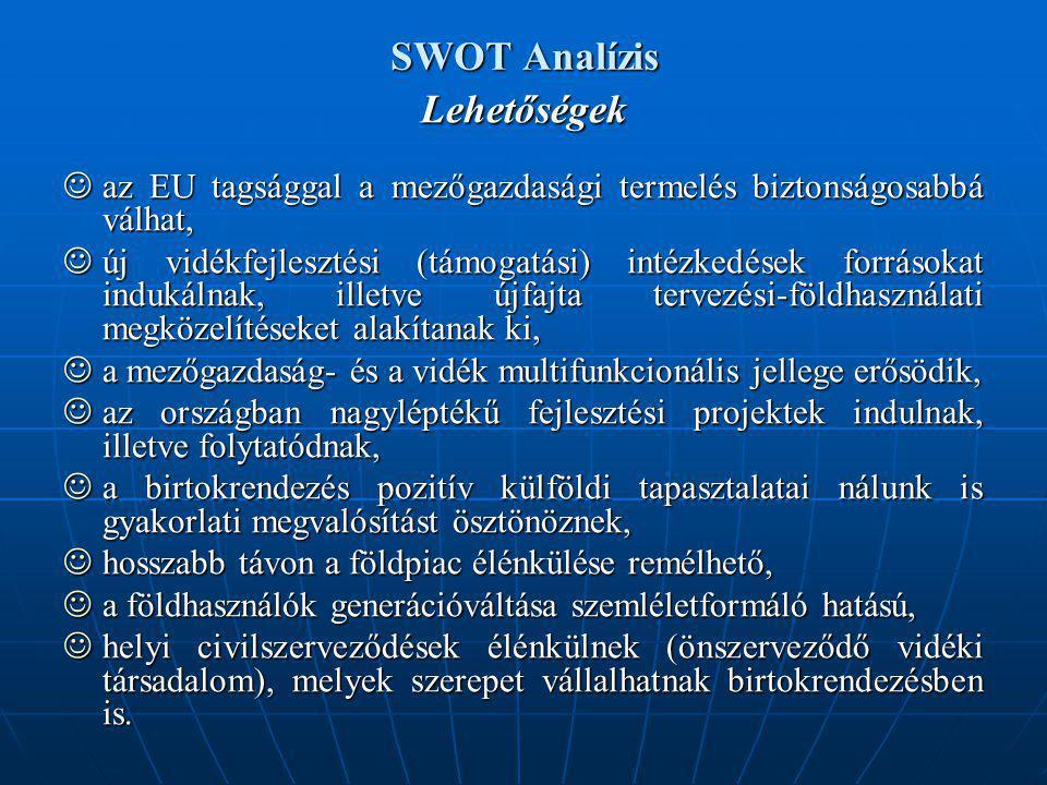 SWOT Analízis Lehetőségek az EU tagsággal a mezőgazdasági termelés biztonságosabbá válhat, az EU tagsággal a mezőgazdasági termelés biztonságosabbá válhat, új vidékfejlesztési (támogatási) intézkedések forrásokat indukálnak, illetve újfajta tervezési-földhasználati megközelítéseket alakítanak ki, új vidékfejlesztési (támogatási) intézkedések forrásokat indukálnak, illetve újfajta tervezési-földhasználati megközelítéseket alakítanak ki, a mezőgazdaság- és a vidék multifunkcionális jellege erősödik, a mezőgazdaság- és a vidék multifunkcionális jellege erősödik, az országban nagyléptékű fejlesztési projektek indulnak, illetve folytatódnak, az országban nagyléptékű fejlesztési projektek indulnak, illetve folytatódnak, a birtokrendezés pozitív külföldi tapasztalatai nálunk is gyakorlati megvalósítást ösztönöznek, a birtokrendezés pozitív külföldi tapasztalatai nálunk is gyakorlati megvalósítást ösztönöznek, hosszabb távon a földpiac élénkülése remélhető, hosszabb távon a földpiac élénkülése remélhető, a földhasználók generációváltása szemléletformáló hatású, a földhasználók generációváltása szemléletformáló hatású, helyi civilszerveződések élénkülnek (önszerveződő vidéki társadalom), melyek szerepet vállalhatnak birtokrendezésben is.