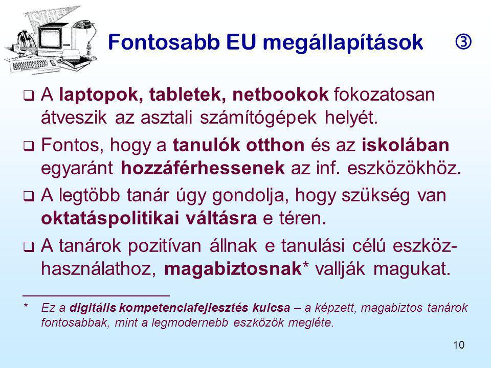 10 Fontosabb EU megállapítások   A laptopok, tabletek, netbookok fokozatosan átveszik az asztali számítógépek helyét.