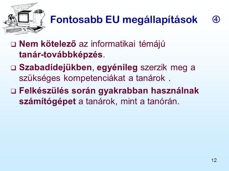 12 Fontosabb EU megállapítások   Nem kötelező az informatikai témájú tanár-továbbképzés.