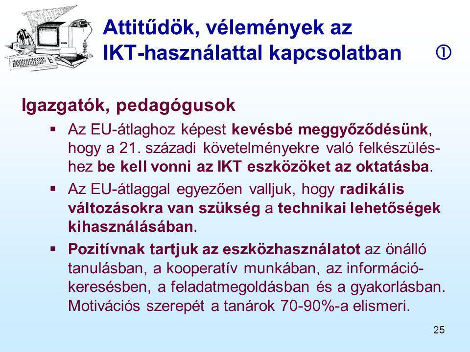 25 Attitűdök, vélemények az IKT-használattal kapcsolatban  Igazgatók, pedagógusok  Az EU-átlaghoz képest kevésbé meggyőződésünk, hogy a 21.