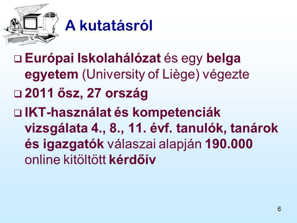 6 A kutatásról  Európai Iskolahálózat és egy belga egyetem (University of Liège) végezte  2011 ősz, 27 ország  IKT-használat és kompetenciák vizsgálata 4., 8., 11.