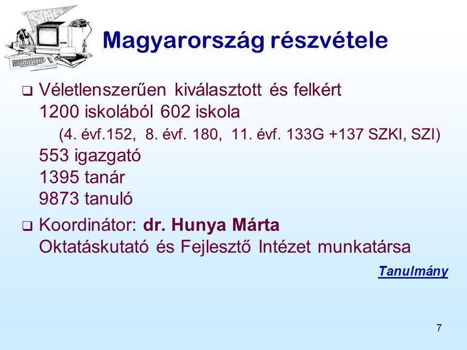 7 Magyarország részvétele  Véletlenszerűen kiválasztott és felkért 1200 iskolából 602 iskola (4.