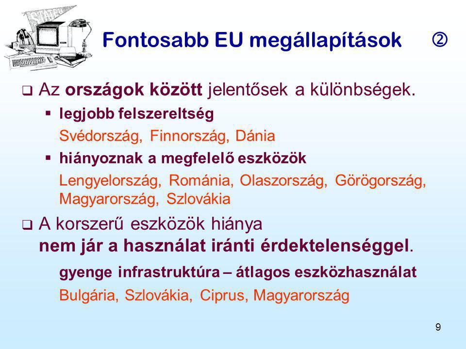 9 Fontosabb EU megállapítások  AAz országok között jelentősek a különbségek.