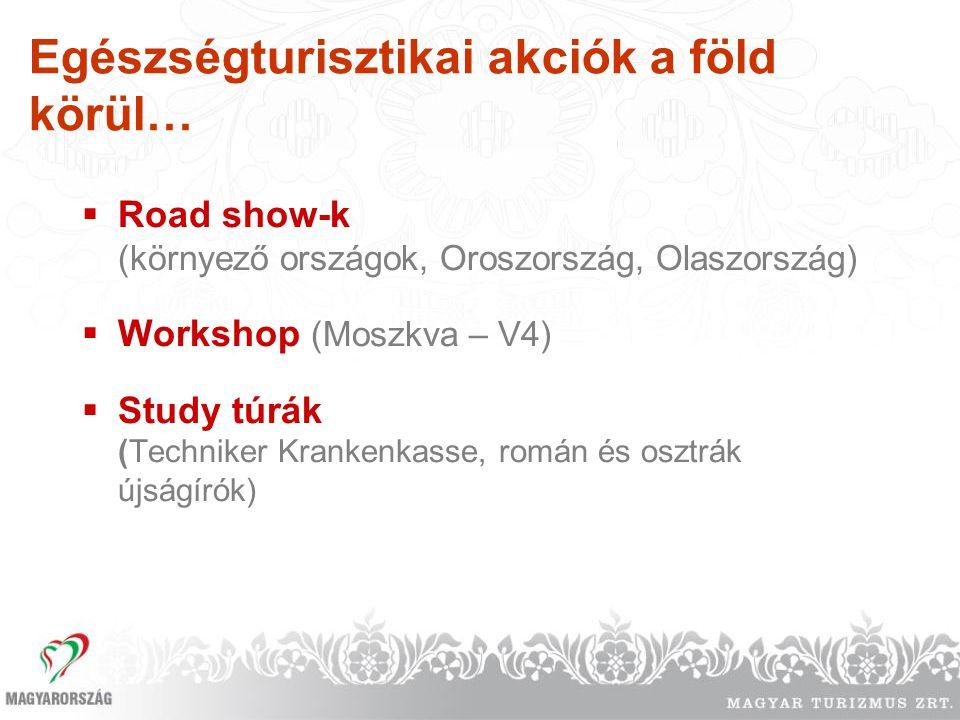 Egészségturisztikai akciók a föld körül…  Road show-k (környező országok, Oroszország, Olaszország)  Workshop (Moszkva – V4)  Study túrák (Technike
