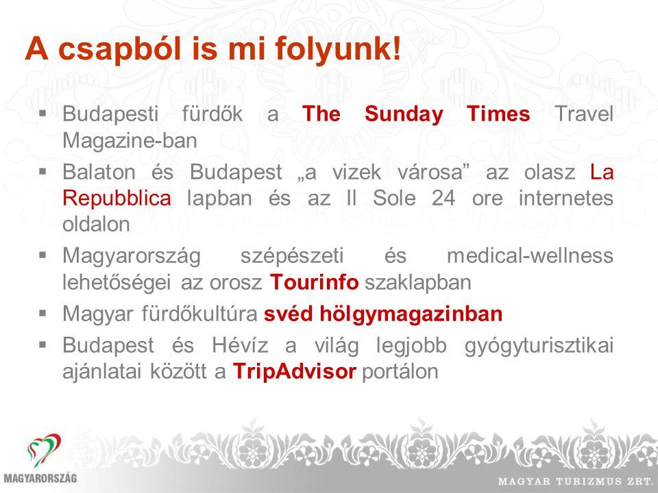 """A csapból is mi folyunk!  Budapesti fürdők a The Sunday Times Travel Magazine-ban  Balaton és Budapest """"a vizek városa"""" az olasz La Repubblica lapba"""
