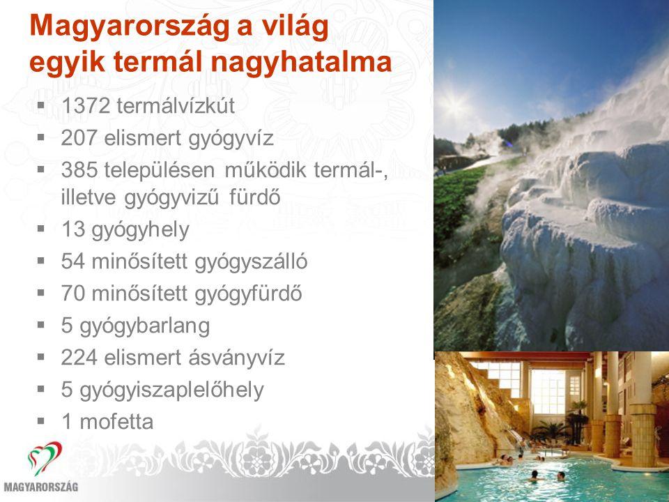 Magyarország a világ egyik termál nagyhatalma  1372 termálvízkút  207 elismert gyógyvíz  385 településen működik termál-, illetve gyógyvizű fürdő 