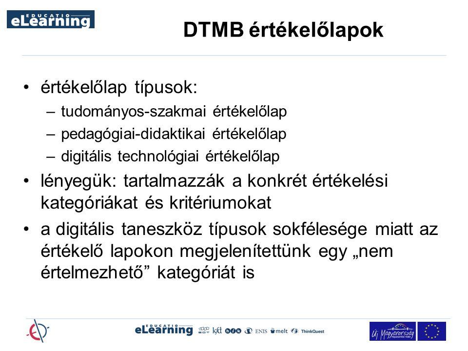 """DTMB értékelőlapok értékelőlap típusok: –tudományos-szakmai értékelőlap –pedagógiai-didaktikai értékelőlap –digitális technológiai értékelőlap lényegük: tartalmazzák a konkrét értékelési kategóriákat és kritériumokat a digitális taneszköz típusok sokfélesége miatt az értékelő lapokon megjelenítettünk egy """"nem értelmezhető kategóriát is"""