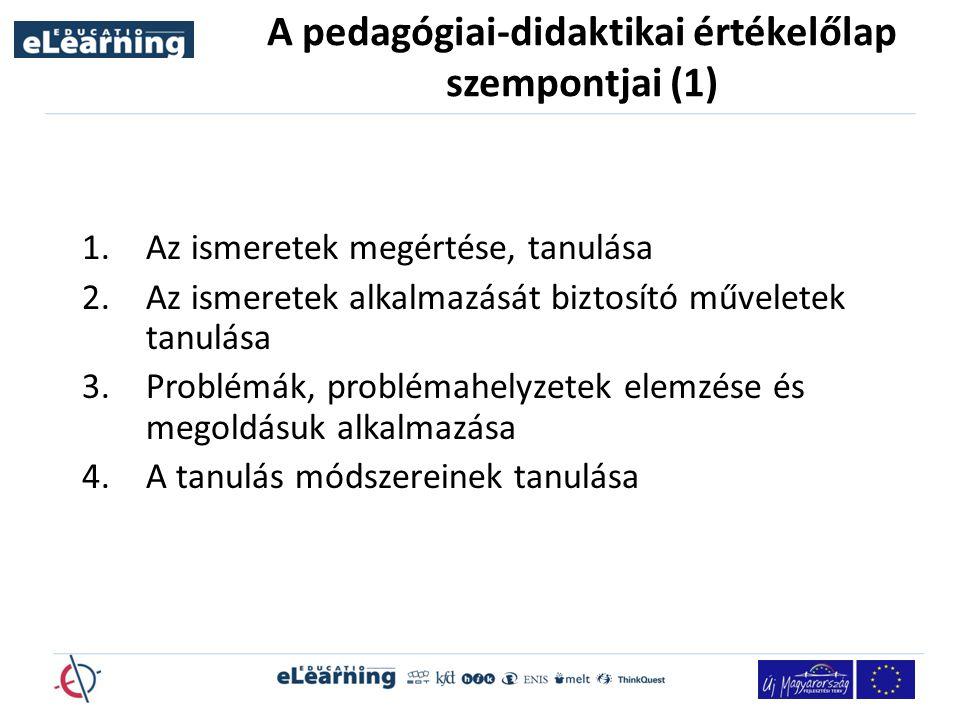 A pedagógiai-didaktikai értékelőlap szempontjai (1) 1.Az ismeretek megértése, tanulása 2.Az ismeretek alkalmazását biztosító műveletek tanulása 3.Problémák, problémahelyzetek elemzése és megoldásuk alkalmazása 4.A tanulás módszereinek tanulása